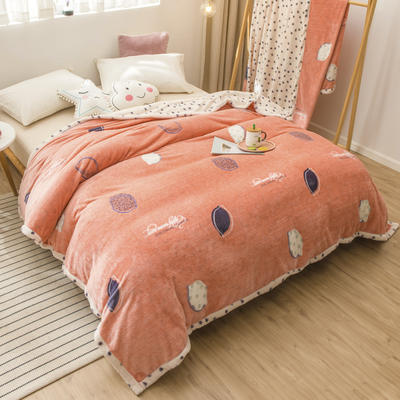 2020新款珊瑚绒法兰绒毯牛奶绒午睡盖毯床单空调毯毛毯AB版花型 100*120cm 点点柠檬