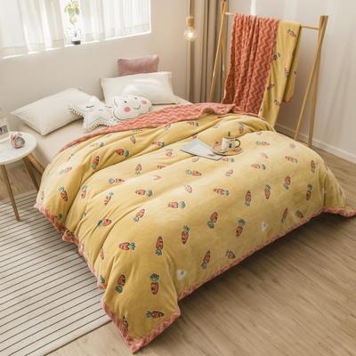 2020新款珊瑚绒法兰绒毯牛奶绒午睡盖毯床单空调毯毛毯AB版花型 100*120cm 胡萝卜