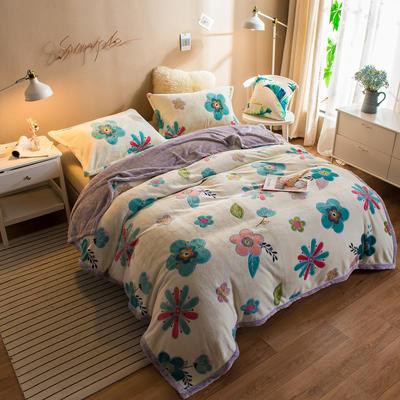 2020新款珊瑚绒法兰绒毯牛奶绒午睡盖毯床单空调毯毛毯AB版花型 100*120cm 花香