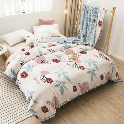 2020新款珊瑚绒法兰绒毯牛奶绒午睡盖毯床单空调毯毛毯AB版花型 120*200cm 浪里花香