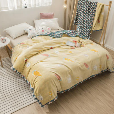 2020新款珊瑚绒法兰绒毯牛奶绒午睡盖毯床单空调毯毛毯AB版花型 100*120cm 萝卜兔