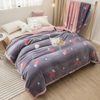 2020新款珊瑚绒法兰绒毯牛奶绒午睡盖毯床单空调毯毛毯AB版花型 100*120cm 莓莓甜心