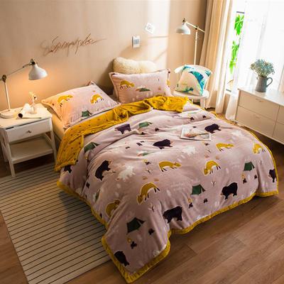 2020新款珊瑚绒法兰绒毯牛奶绒午睡盖毯床单空调毯毛毯AB版花型 120*200cm 熊和狐狸