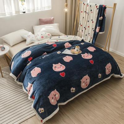2020新款珊瑚绒法兰绒毯牛奶绒午睡盖毯床单空调毯毛毯AB版花型 120*200cm 猪猪爱