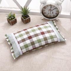 水洗棉荞麦枕 水绿格