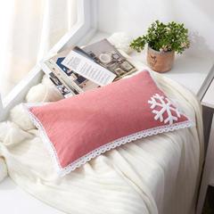 色织毛巾绣荞麦枕(30*50) 雪花豆沙