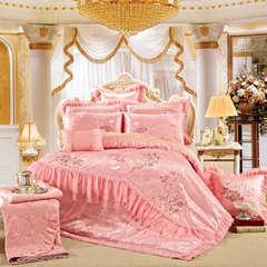 婚庆多件套豪华蕾丝款-粉红(一生一世) 标准(1.5-1.8m)床 床盖八件套