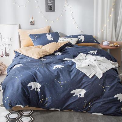 2018全棉13372+水晶绒新品四件套 1.2m(4英尺)床三件套 北极