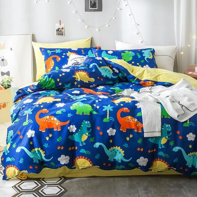 2018全棉13372+水晶绒新品四件套 1.2m(4英尺)床三件套 恐龙世界