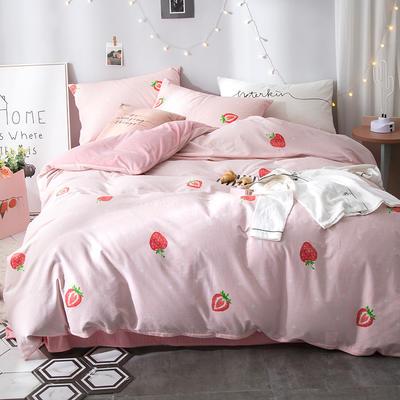2018全棉13372+水晶绒新品四件套 1.2m(4英尺)床三件套 莓恋