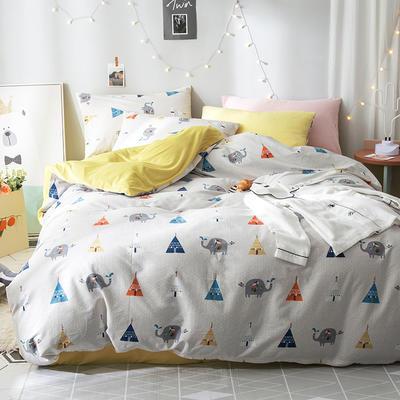 2018全棉13372+水晶绒新品四件套 1.2m(4英尺)床三件套 萌象