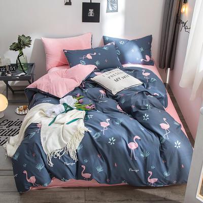 2018全棉13372+水晶绒新品四件套 1.2m(4英尺)床三件套 梦幻花园