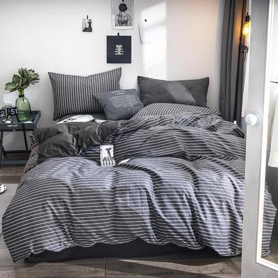 2018全棉13372+水晶绒新品四件套 1.2m(4英尺)床三件套 墨彦