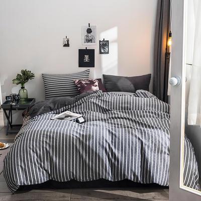 2018全棉13372+水晶绒新品四件套 1.2m(4英尺)床三件套 暮涩