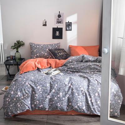 2018全棉13372+水晶绒新品四件套 1.2m(4英尺)床三件套 烟雨蒙蒙