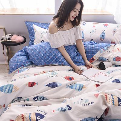 2019新品全棉13372印花四件套 1.2m(4英尺)床 清新款和平托纳