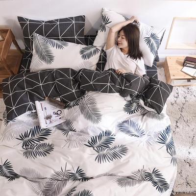 2019新品全棉13372印花四件套 1.2m(4英尺)床 时尚款焦墨
