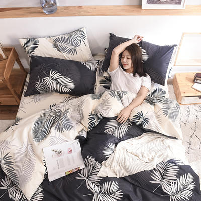 2019新品全棉13372印花四件套 1.2m(4英尺)床 时尚款叶墨