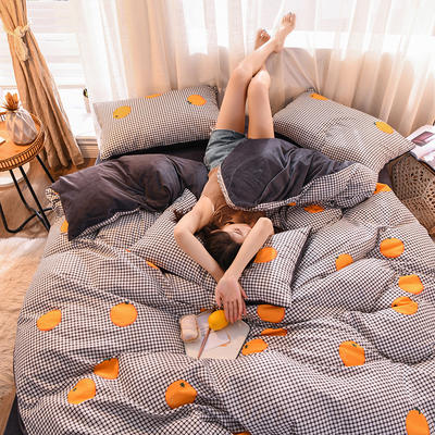 2019 13372棉绒款四件套 1.2m床单款三件套 橙恋