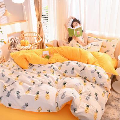 2019 13372棉绒款四件套 1.2m床单款三件套 小菠萝