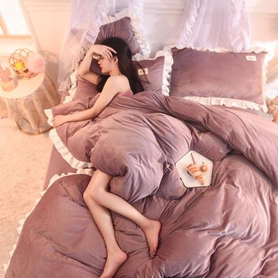 【2019爆款】双面水晶绒公主风韩版四件套小清新法莱绒牛奶绒 床单款三件套 1.2m床单款三件套 杏色