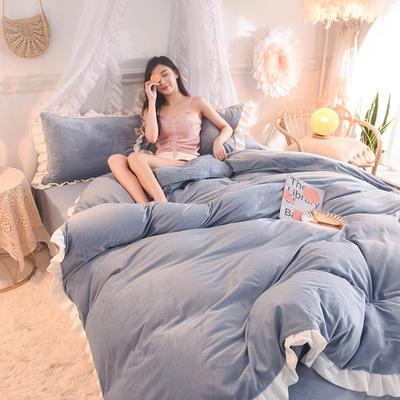 【2019爆款】双面水晶绒公主风韩版四件套小清新法莱绒牛奶绒 床单款三件套 1.2m床单款三件套 臻蓝