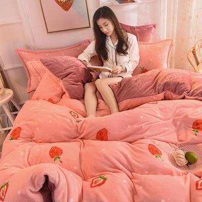 2019  高密度 法莱绒印花四件套 1.2m床单款三件套 爱恋