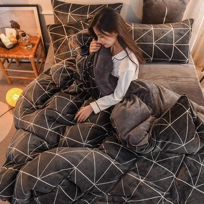 2019  高密度 法莱绒印花四件套 1.2m床单款三件套 墨尔