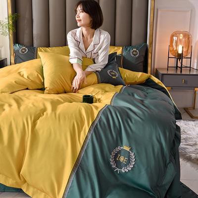 2020新品-水洗真丝双拼四件套 1.8m床单款四件套 摩登-黄绿