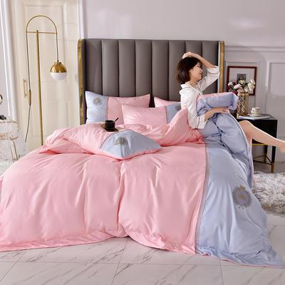 2020新品-水洗真丝双拼四件套 1.8m床单款四件套 摩登-水粉
