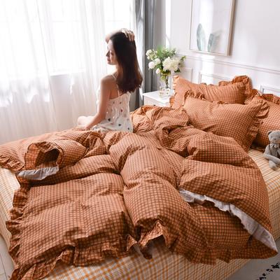2020新品-13372裙边印花四件套 1.2m床单款三件套 橙色轨迹