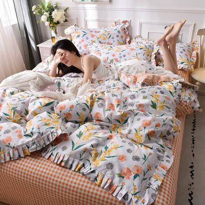 2020新品-13372裙边印花四件套 1.2m床单款三件套 阳光小橘