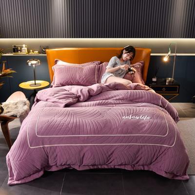 2020新款压框双面牛奶绒升级版四件套 1.8m床单款四件套 高雅紫