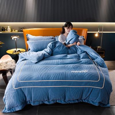 2020新款压框双面牛奶绒升级版四件套 1.8m床单款四件套 简约蓝
