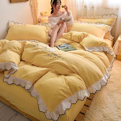 2020-高克重刺绣花边牛奶绒圆点剪花四件套 1.8m床单款四件套 姜黄