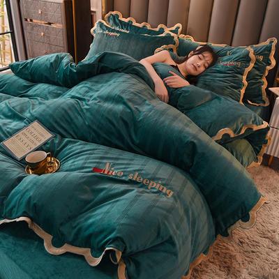 2020高密度宝宝绒四件套-波浪花边系列 1.8m床单款四件套 孔雀绿