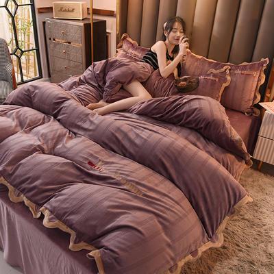 2020高密度宝宝绒四件套-波浪花边系列 1.8m床单款四件套 梦幻紫