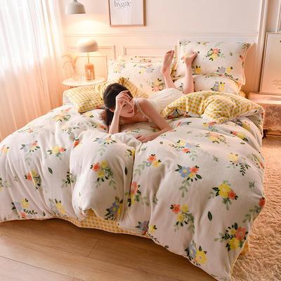 2020  高密度 法莱绒印花四件套 1.5m床单款四件套 东篱菊