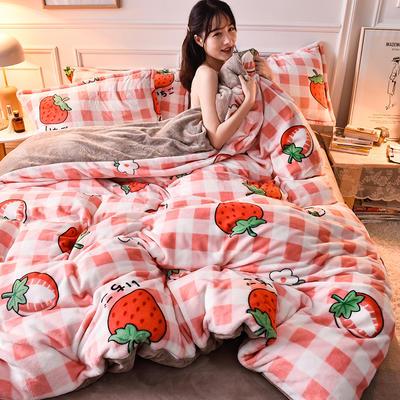 2020  高密度 法莱绒印花四件套 1.5m床单款四件套 格子草莓