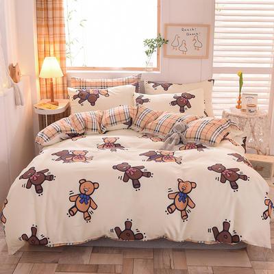 2021新品-13372活性印花四件套 1.5m床单款四件套 布偶熊