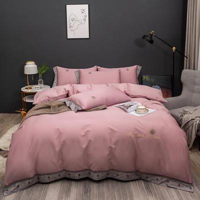 2021新款80支长绒棉流金岁月刺绣系列 1.8m床单款四件套 流金岁月-粉