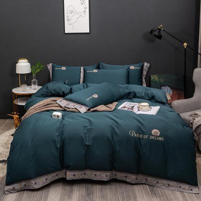 2021新款80支长绒棉流金岁月刺绣系列 1.8m床单款四件套 流金岁月-湖蓝