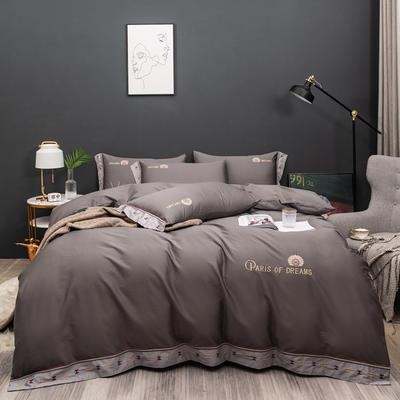 2021新款80支长绒棉流金岁月刺绣系列 1.8m床单款四件套 流金岁月-灰
