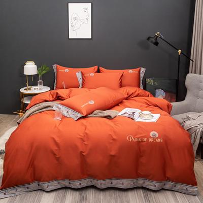 2021新款80支长绒棉流金岁月刺绣系列 1.8m床单款四件套 流金岁月-橘