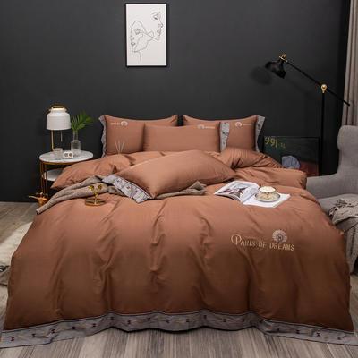 2021新款80支长绒棉流金岁月刺绣系列 1.8m床单款四件套 流金岁月-咖