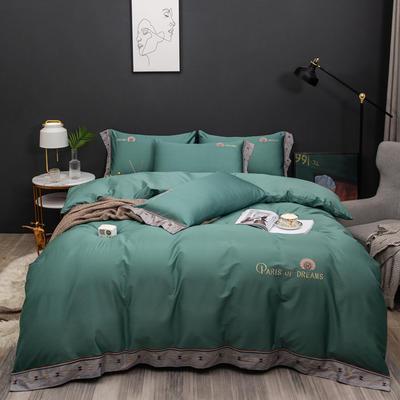 2021新款80支长绒棉流金岁月刺绣系列 1.8m床单款四件套 流金岁月-绿