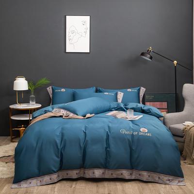 2021新款80支长绒棉流金岁月刺绣系列 1.8m床单款四件套 流金岁月-湛蓝