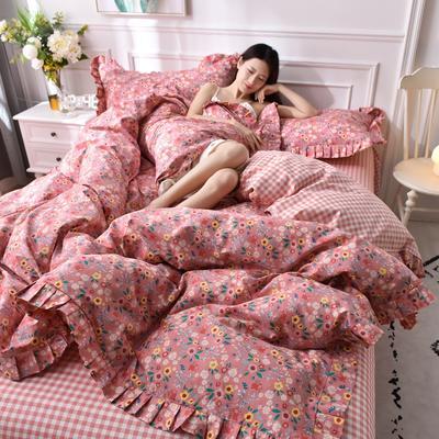 2021新款全棉裙边四件套 1.5m床单款四件套 姹紫嫣红