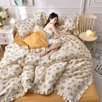 2021新款全棉裙边四件套 1.5m床单款四件套 花间蜜语