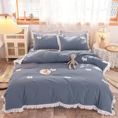 2021新款-水洗棉贴布刺绣花边四件套 1.5m床单款四件套 小萌狗-灰蓝